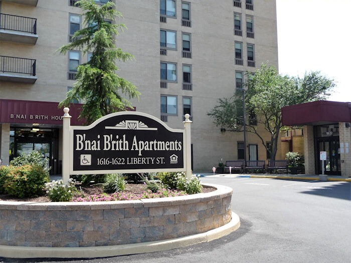 B'nai B'rith Apartments, Allentown, PA Entrance