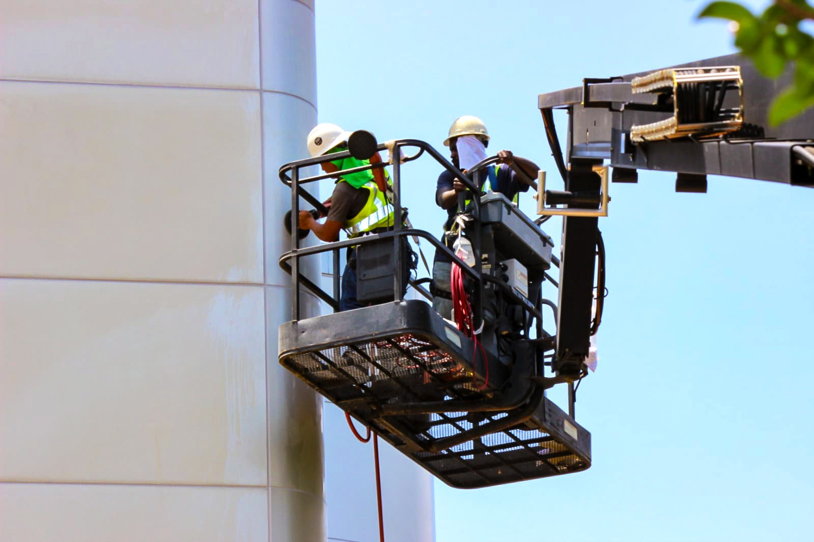 Technicians on crane at Ruby Hicks Hall at Tri-County Technical College in Pendleton, SC
