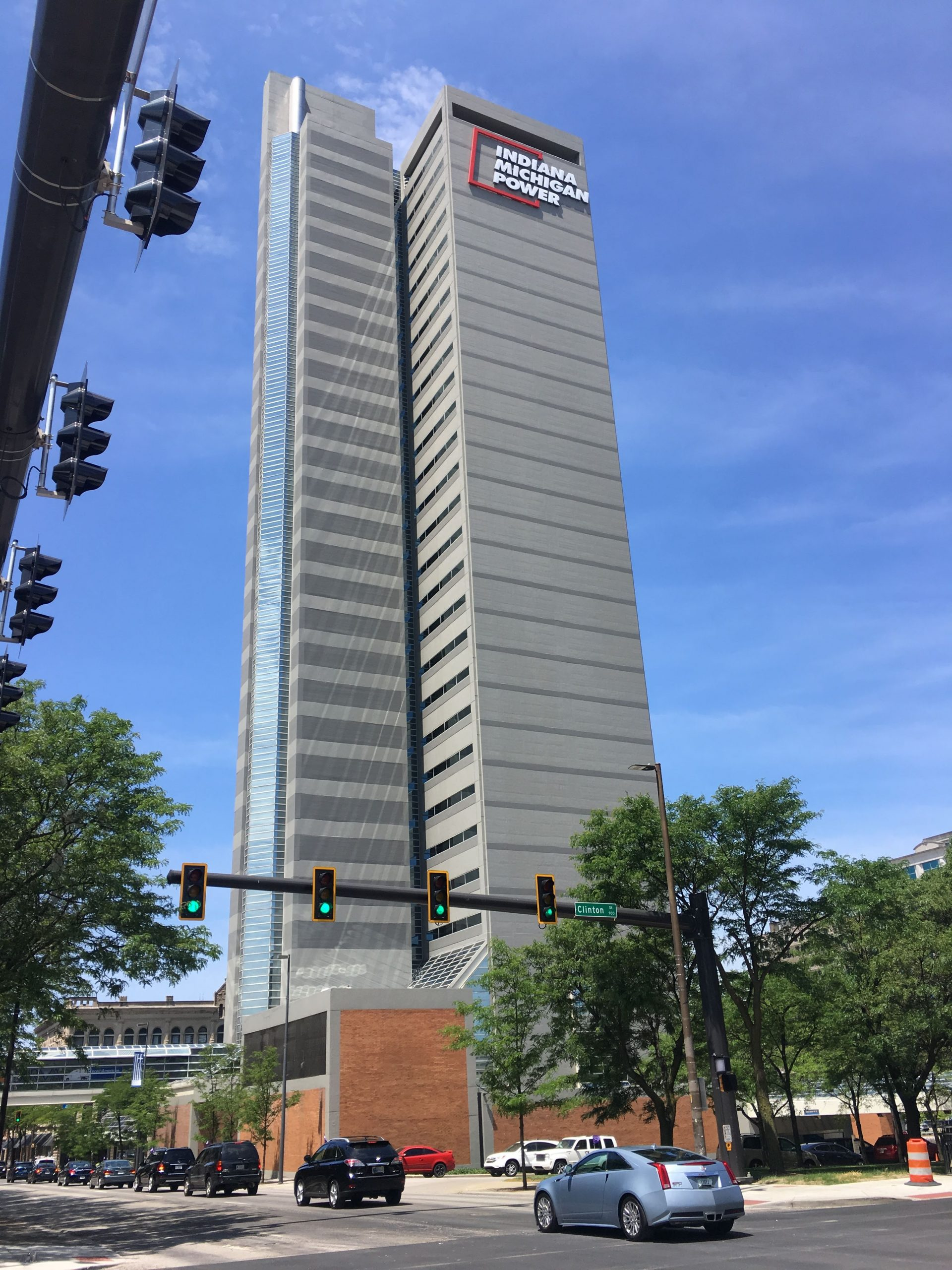 Commercial waterproofing performed on Indiana Michigan Power Center high rise office building in Fort Wayne, IN
