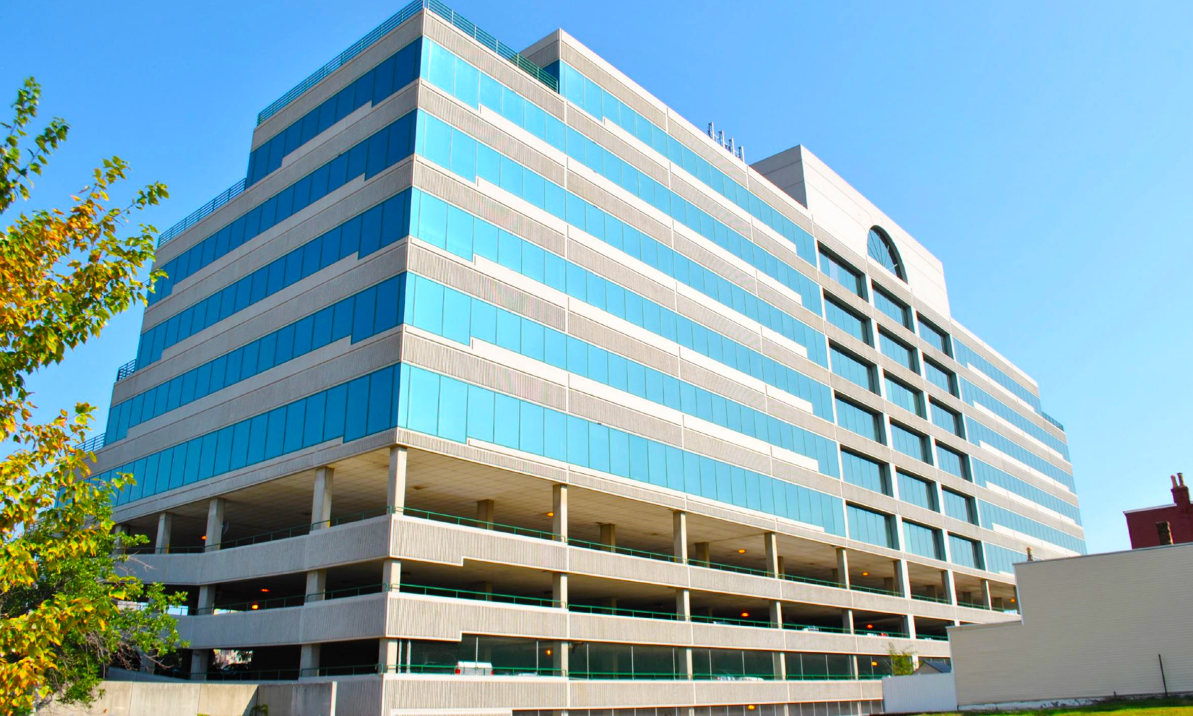 Glass, metal and stone surface restoration services performed by Presto at One Riverfront Place in Newport, KY