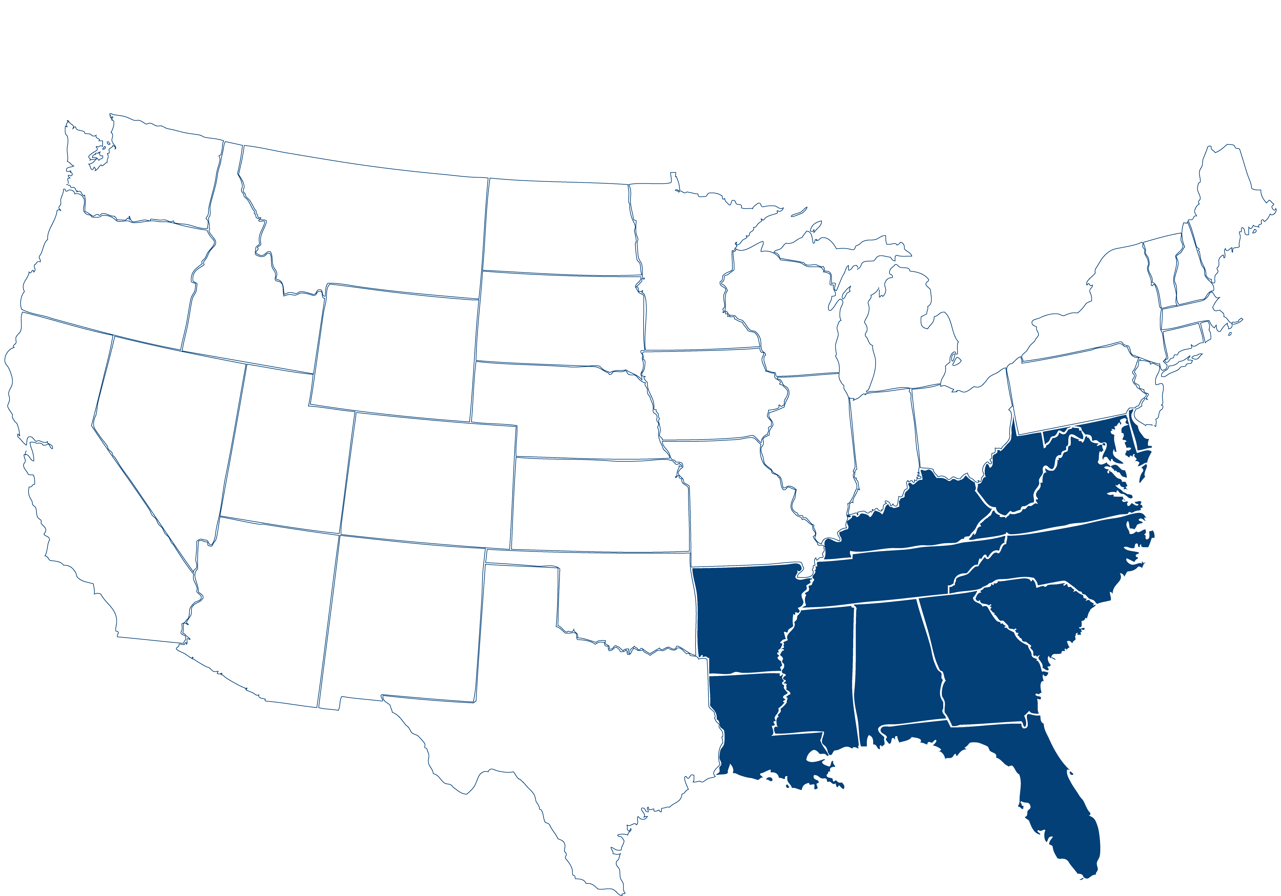USA Southeast Map