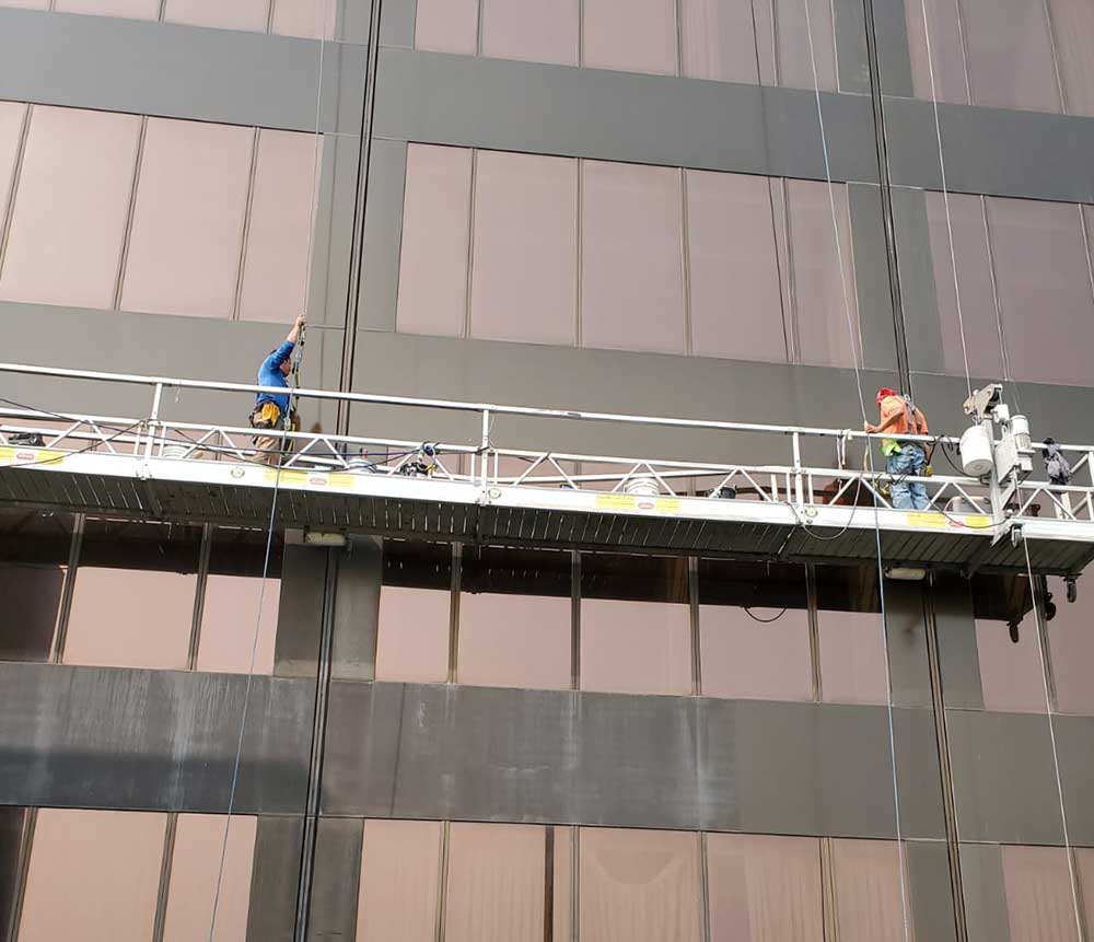 Stratacache glass and metal restoration in dayton ohio swing stage