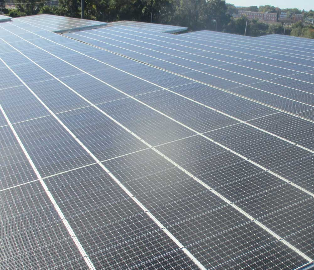 Waterproofing services applied to many tiers of solar panels