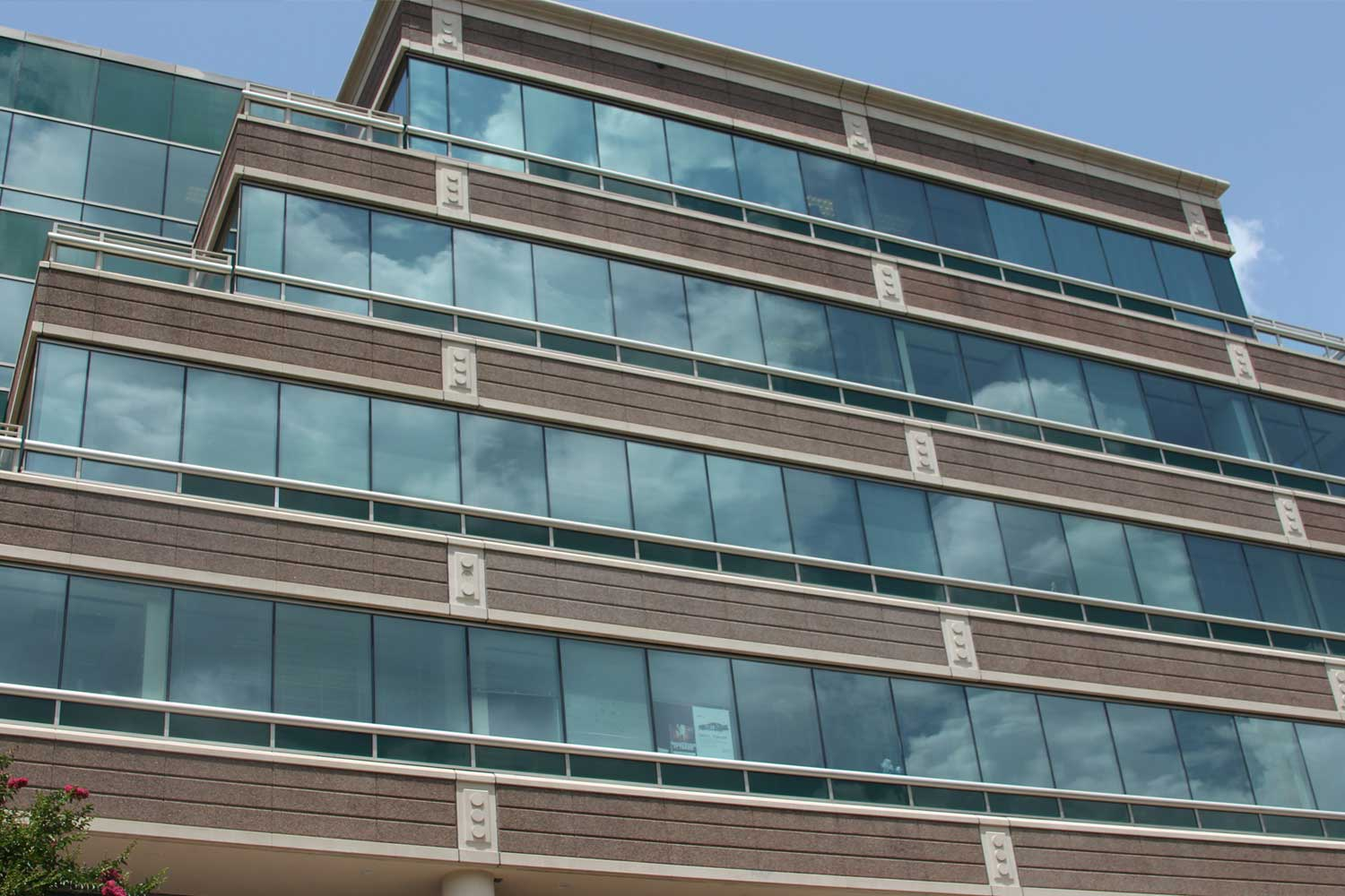 Commercial office building after a complete exterior restoration