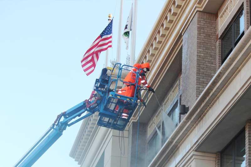 Presto's precast concrete experts clean the Taylor Building in downtown Salinas California