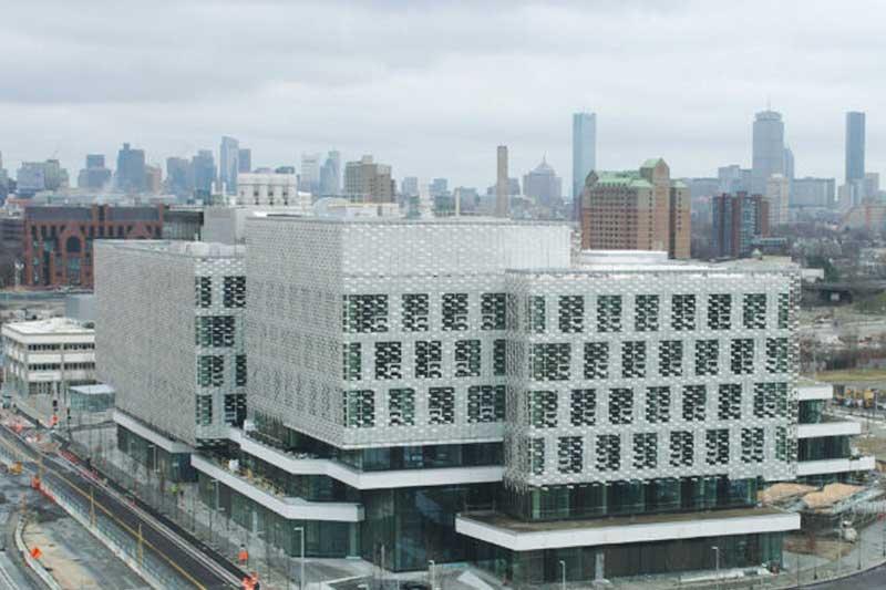 Harvard building under construction before glass restoration services