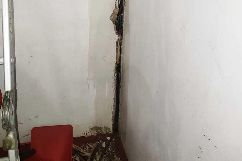 Before image of damaged concrete corner